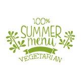 Summer menu green label, vector illustration Royalty Free Stock Photography
