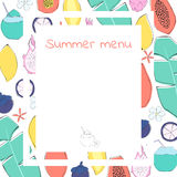 Summer menu template. Different exotic fruits and flowers on the background. Hand drawn style Stock Photo