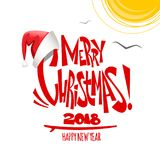 Summer Merry Christmas lettering. Vector illustration. stock illustration