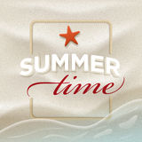 Summer message on beach sand. Vector summer concept design template. Elements are layered separately in vector file. Easy editable Stock Photography