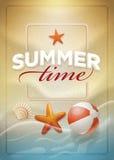 Summer message on beach sand vector illustration
