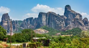 Summer rocky Meteora monasteries, Greece stock photos