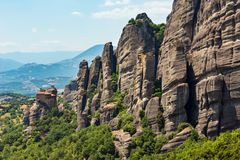 Summer rocky Meteora monasteries, Greece royalty free stock photo