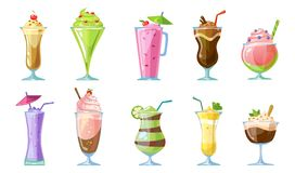 Summer milkshake collection.Delicious non-alcoholic cocktails and milkshakes isolated on white background. Chocolate, strawberry, vector illustration