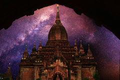 Summer Milky way with ancient temple,bagan Stock Images