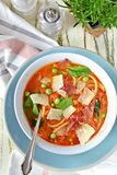 Summer Minestrone with bacon stock images