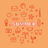 Summer minimal outline icons Royalty Free Stock Photography