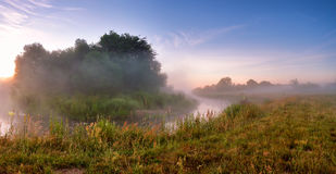 Summer misty sunrise on the river. Foggy river in the morning. P Royalty Free Stock Image
