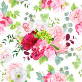 Summer mixed bouquets vector seamless pattern. Summer mixed bouquets of peony, pink hydrangea, protea, red rose, orchid, poppy, camellia, berry and bright green Royalty Free Stock Image
