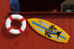 Summer mock up. Boot with lifebuoy and surf board mock up Stock Photo