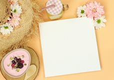 Summer mockup frame with straw hat stock image