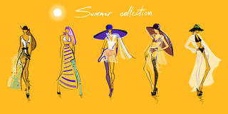 Summer models sketches Royalty Free Stock Images