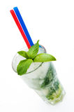 Summer Mojito. Cool refreshing summer cocktail isolated on a white background Royalty Free Stock Image