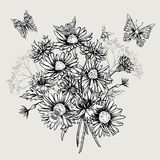 Summer Monochrome Floral Bouquet Greeting Card stock illustration