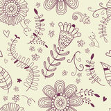Summer monochrome seamless pattern. Floral decorative background. Stock Images