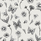 Summer Monochrome Vintage Floral Seamless Pattern Stock Photography