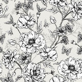 Summer Monochrome Vintage Floral Seamless Pattern Royalty Free Stock Image