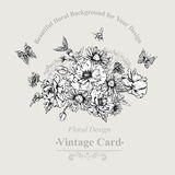Summer Monochrome Vintage Greeting Card with Royalty Free Stock Images