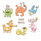 Summer monsters set. Cartoon summer monsters set. Summer food and drink. Vector image. Children's illustration. Cute monsters collection Stock Photography