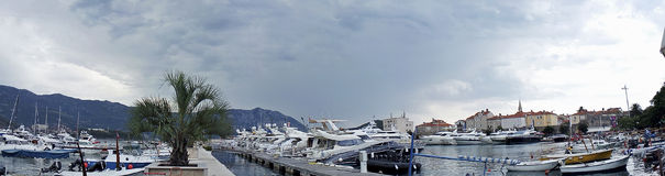 Summer in Montenegro. Panorama of the big harbor royalty free stock image