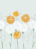 Summer mood. Vector illustration of abstract flowers, dandelions and herbs Stock Photos