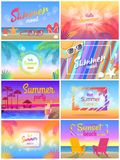 Summer Mood, Beach Party Time, Hello Sunny Day. Vector illustration, set of colorful cards with palms s leaves, summer accessories and cute seascapes vector illustration