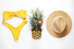 Exotic top view composition with items symbolizing summer mood royalty free stock images