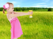 Summer mood a little girl. Royalty Free Stock Images