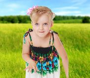 Summer mood a little girl. Stock Images
