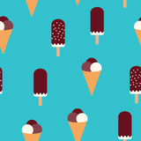 Summer mood pattern with sweet ice cream. Texture with sweet desserts, ice cream fudge sundae and cones. Royalty Free Stock Image
