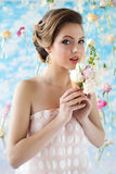 Summer mood picture with girl Royalty Free Stock Image