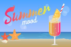 Summer Mood Poster with Cocktail on Coastline, Sea. Summer mood poster, cocktail on coastline, sea and starfish in sand, refreshing drink with straw, fresh royalty free illustration