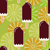Summer mood seamless pattern with sweet eaten ice cream, lemons, oranges and limes. Texture with cold desserts, ice cream fudge su. Ndae. Fruit slices Royalty Free Stock Photo