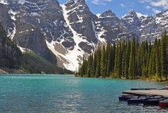 Summer at Moraine Lake in Banff National Park Royalty Free Stock Image