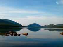 Summer morning in acadia. Calm morning on eagle lake Stock Photos