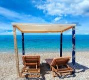 Summer morning Albanian riviera beach. Stock Image