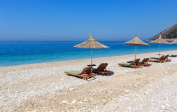 Summer morning beach. Royalty Free Stock Images