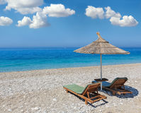 Summer morning beach. Stock Photo