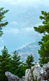 Summer morning cloudy top view on sea coast (Kefalonia, Greece). Royalty Free Stock Photography