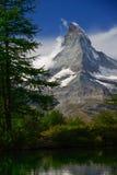 Summer morning on the Grindjisee lake with Matterhorn peak backd. Rop in the  in Swiss Alps, Zermatt location, Valais canton, Switzerland, Europe Stock Photo