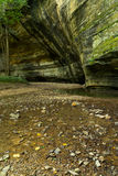Summer morning in Illinois Canyon. Summer morning in Illinois Canyon as water flows lightly across the canyon floor.  Starved Rock State Park, Illinois Royalty Free Stock Photos