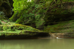Summer morning in Illinois Canyon. Summer morning in Illinois Canyon as water flows lightly to the canyon floor.  Starved Rock State Park, Illinois Stock Images