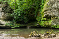Summer morning in Illinois Canyon. Summer morning in Illinois Canyon as water flows lightly to the canyon floor.  Starved Rock State Park, Illinois Royalty Free Stock Photo