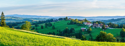 Summer morning mountain village panorama (Poland) Royalty Free Stock Photos