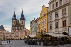 The Church of Mother of God before Tyn in the Old Town Square in Prague, Czech Republic royalty free stock photo