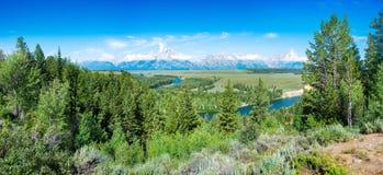 Summer Morning Panorama at Snake River Overlook Royalty Free Stock Photo