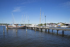 Summer morning in the port city in Raseborg. RASEBORG, FINLAND - JUNE 12, 2015: Summer morning in the port city in Raseborg royalty free stock photo