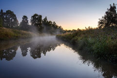 Summer morning on the river stock photography