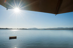 Summer morning scene, view across bay Stock Photography