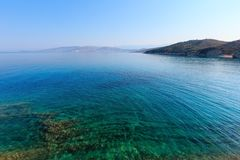 Summer morning sea coast Albania. Stock Photos